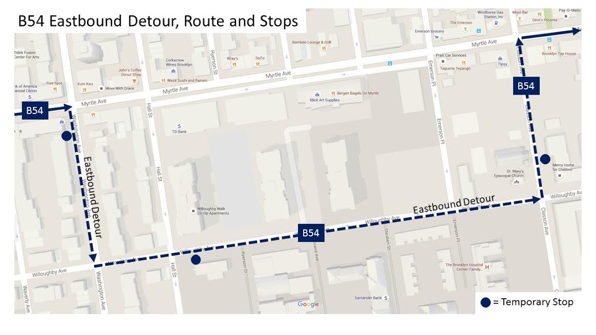 B54 Bus Reroute Map Myrtle Avenue Brooklyn Partnership