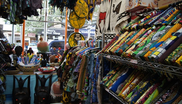 Colorfully rich textiles from Owa Afrikan Market.